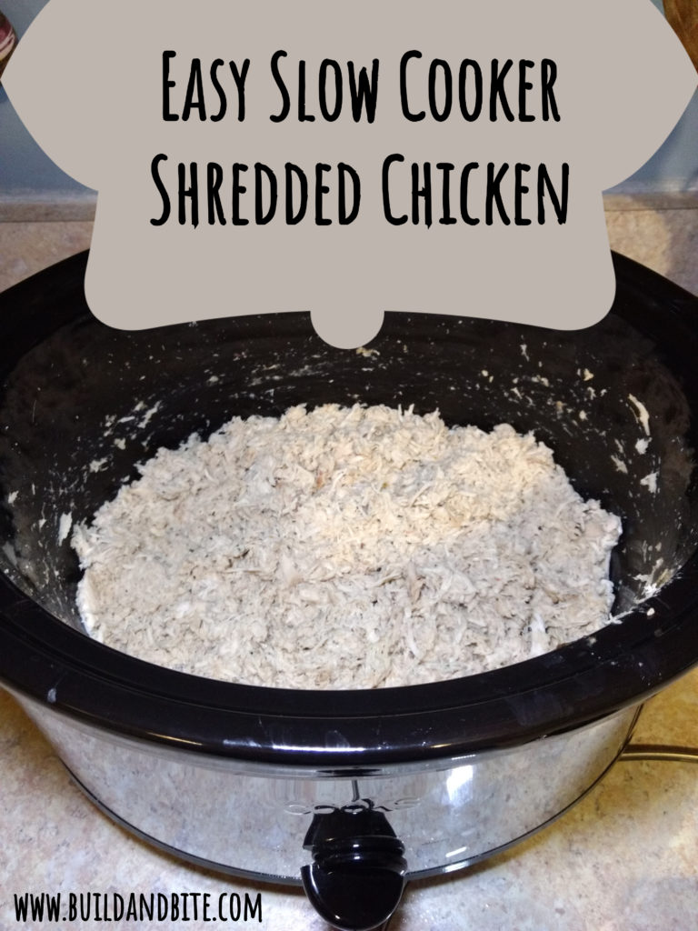 Easy Slow cooker shredded chicken pinterest image