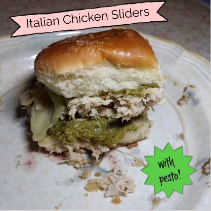 shredded chicken italian sliders with pesto on a plate pinterest image
